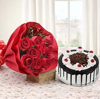 12 adet kırmızı gül 4 kişilik yaş pasta  Karaman internetten çiçek siparişi
