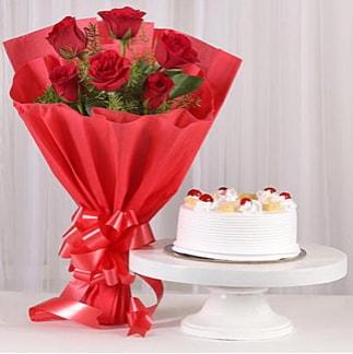 6 Kırmızı gül ve 4 kişilik yaş pasta  Karaman internetten çiçek siparişi