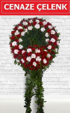 Kırmızı Beyaz Çelenk Cenaze çiçeği  Karaman ucuz çiçek gönder