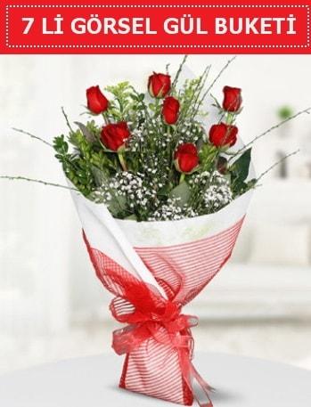 7 adet kırmızı gül buketi Aşk budur  Karaman çiçekçiler