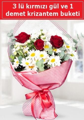 3 adet kırmızı gül ve krizantem buketi  Karaman hediye çiçek yolla