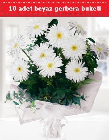 10 Adet beyaz gerbera buketi  Karaman internetten çiçek siparişi