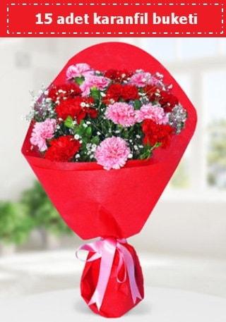 15 adet karanfilden hazırlanmış buket  Karaman çiçek mağazası , çiçekçi adresleri