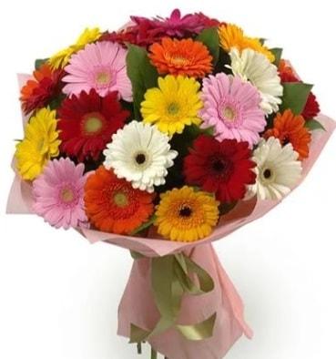 Karışık büyük boy gerbera çiçek buketi  Karaman çiçekçiler