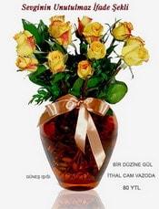 Karaman uluslararası çiçek gönderme  mika yada Cam vazoda 12 adet sari gül